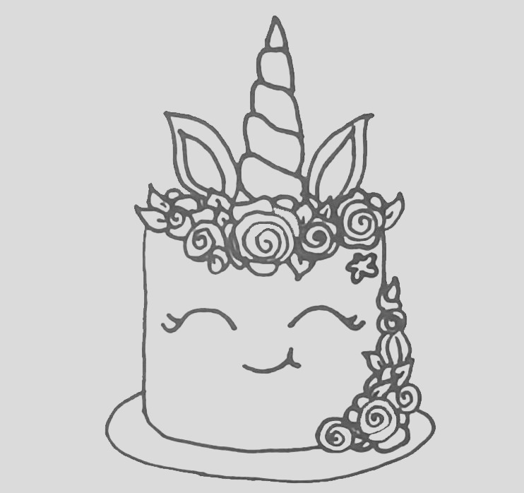 unicorn cake coloring pages for adults