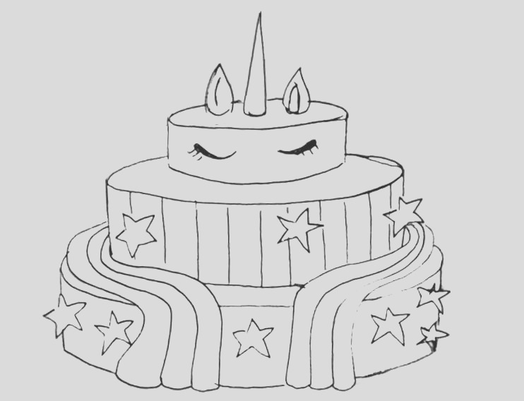 unicorn cake coloring pages for boys