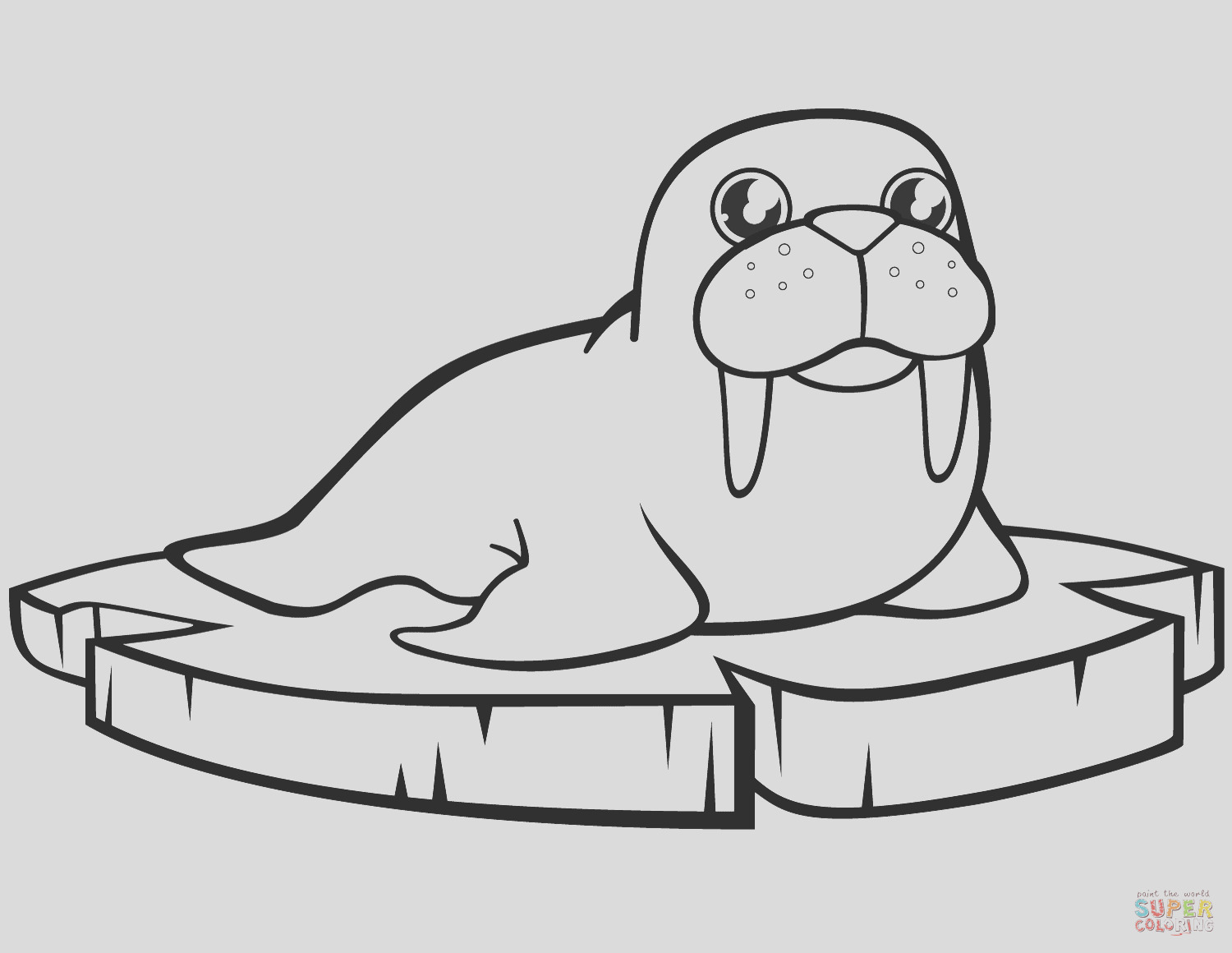cartoon walrus on the ice floe