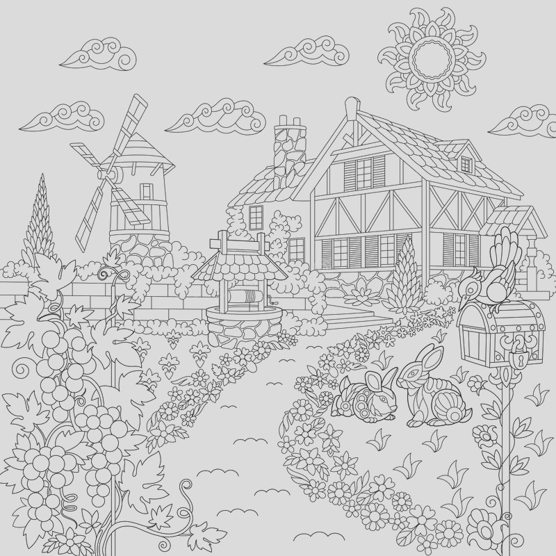stock illustration zentangle stylized countryside scene coloring book page rural landscape farm house windmill water well mail box rabbits bird image