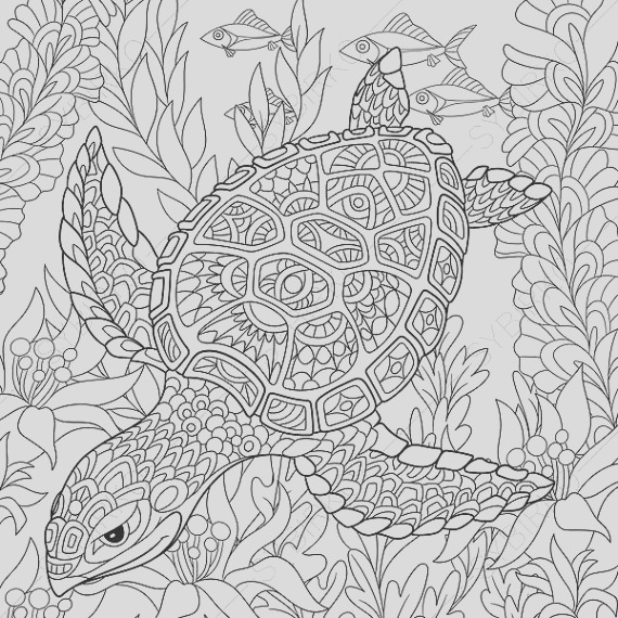ocean world turtle 2 coloring pages