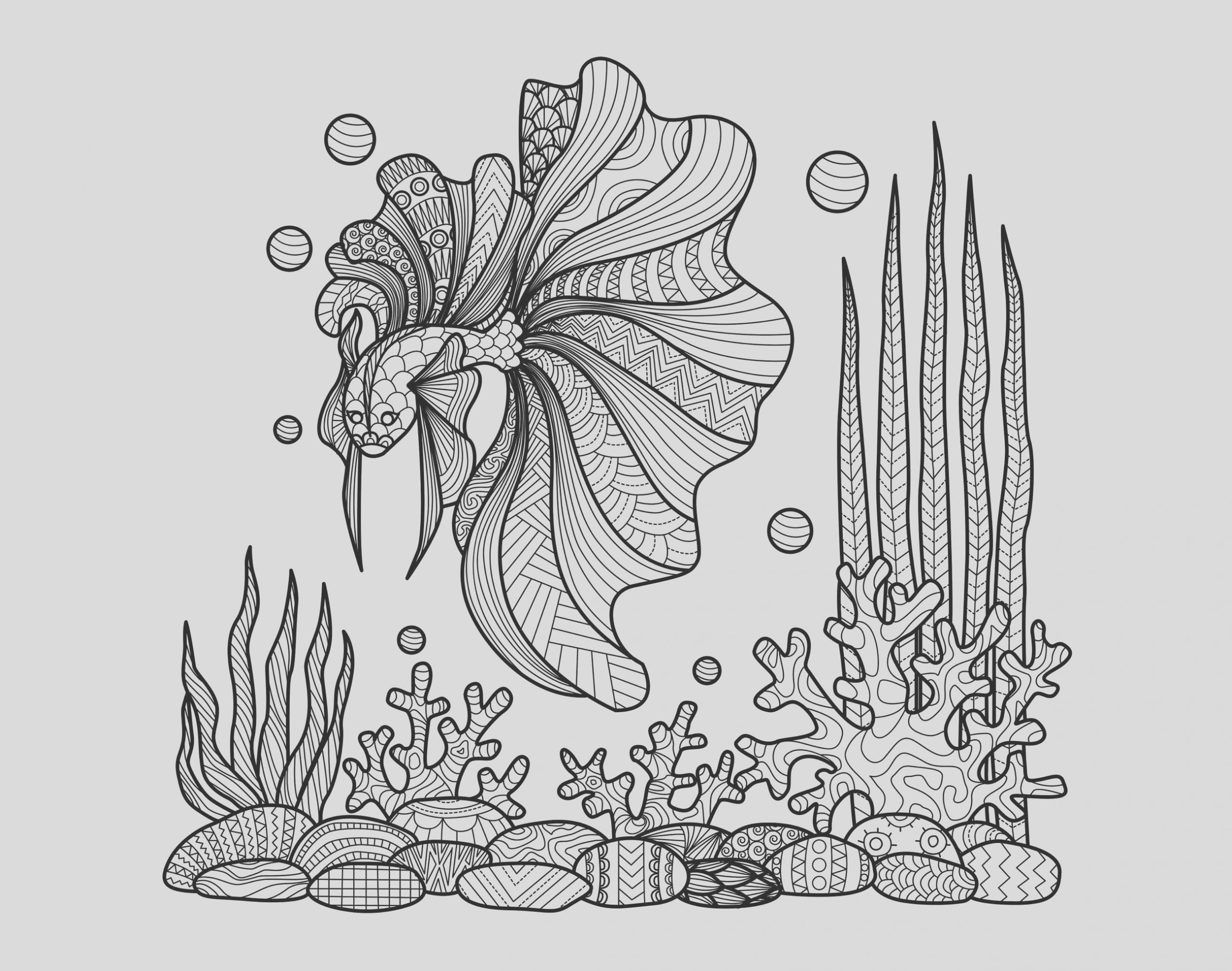 image=water worlds coloring adult zentangle fish on corals by bimdeedee 1