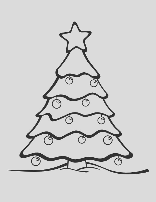 beautiful christmas tree on winter coloring page coloring page