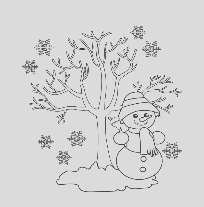 stock illustration winter tree cheerful snowman seasonal signs winter vector illustration white background coloring image