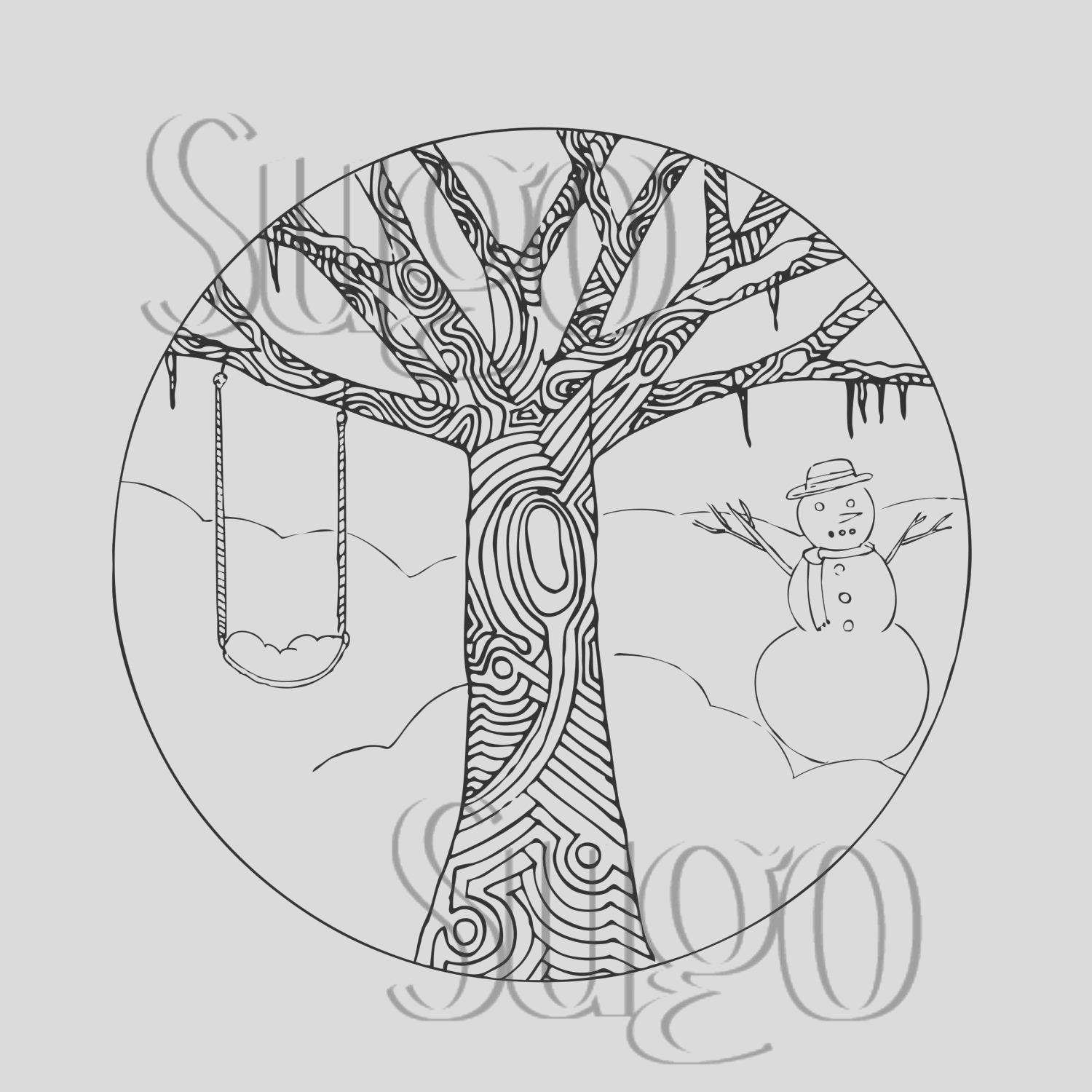 winter tree printable coloring page