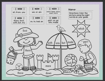 Sight Word Coloring Sheets for Summer 8 Pages