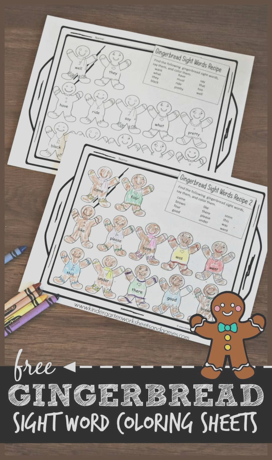 free gingerbread sight words worksheets