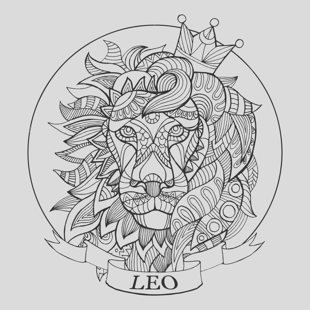 stock illustration lion zodiac sign coloring book