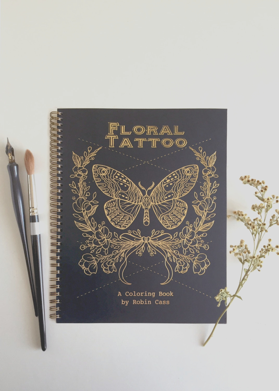 adult coloring book floral tattoo gold