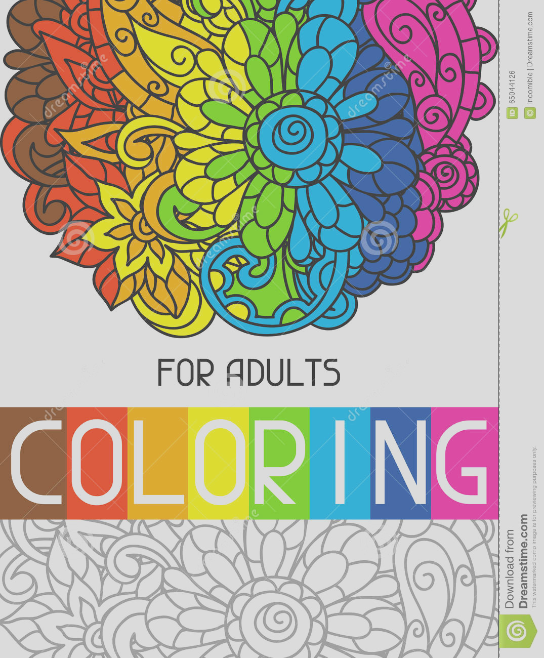 stock illustration adult coloring book design cover illustration trend item to relieve stress creativity image