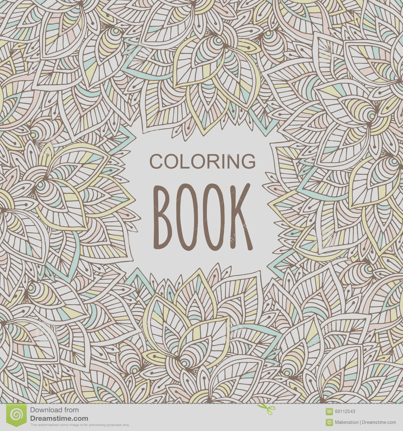 stock illustration coloring book cover unique zentangle style vector hand drawn floral background image