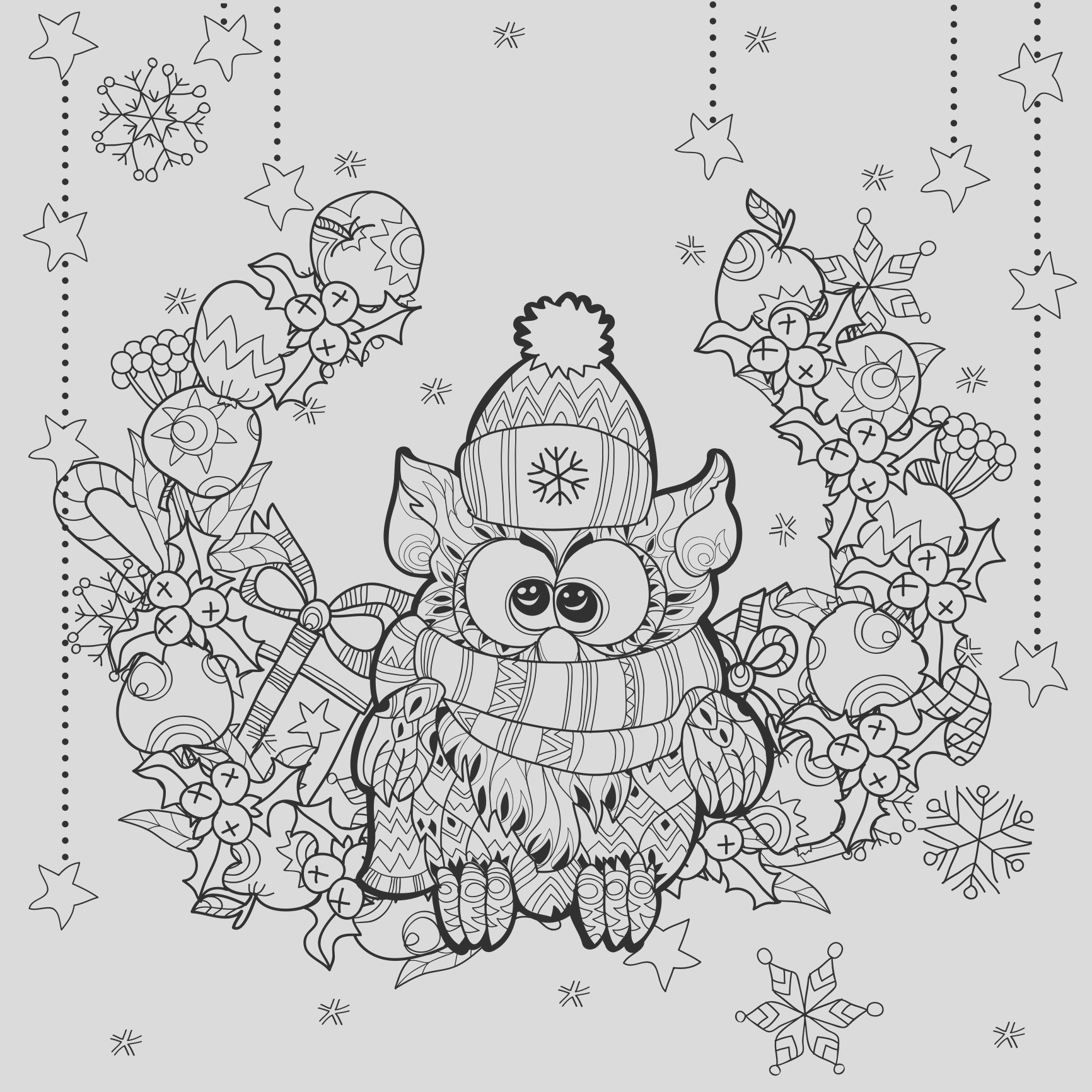 christmas adult coloring pages image=events christmas coloring zentangle christmas owl by Irina Yazeva 1