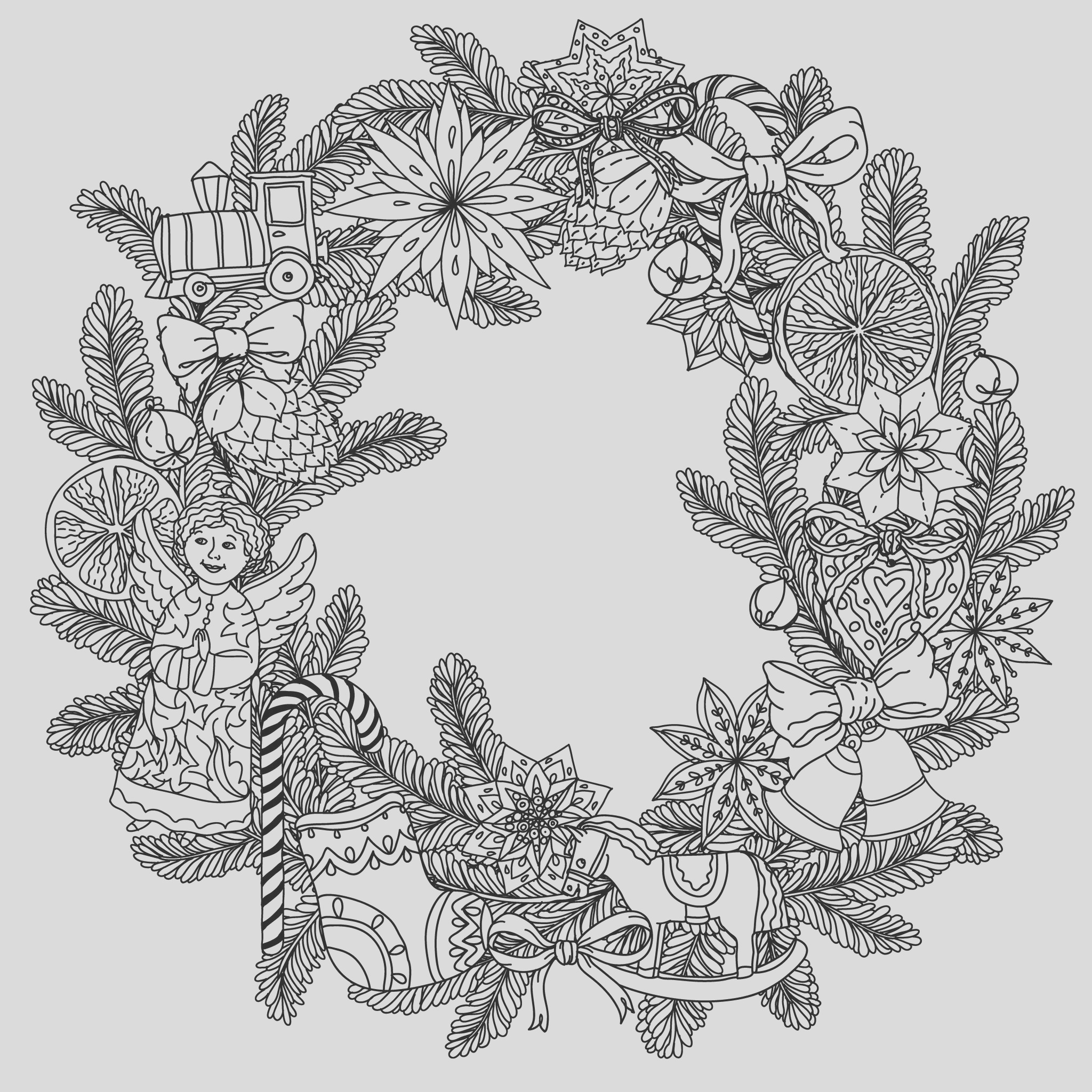 image=events christmas coloring adult christmas wreath by mashabr 1