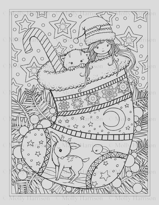 christmas stocking coloring page cat