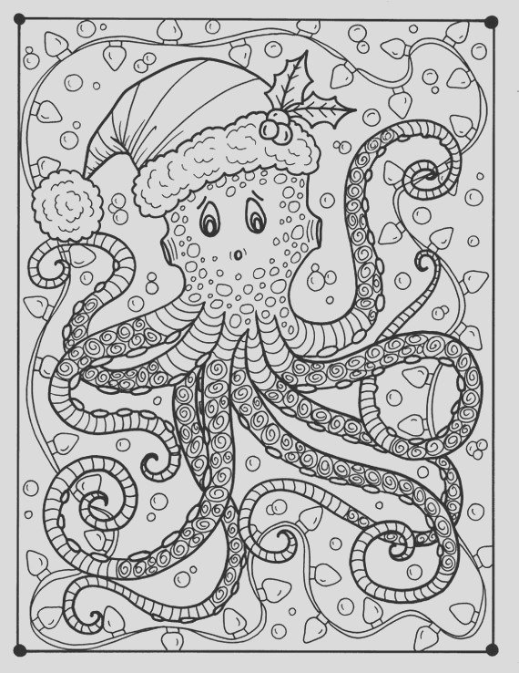 octopus christmas coloring page adult