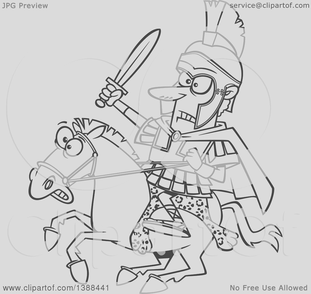 cartoon black and white lineart spartan sol r alexander the great wielding a sword on a horse