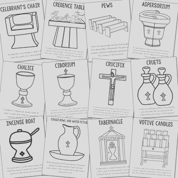 Catholic Church Furniture and Altar Vessels Posters and Coloring Pages CCD