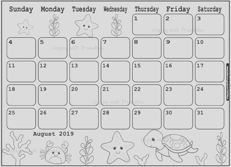 calendar august 2019 coloring page