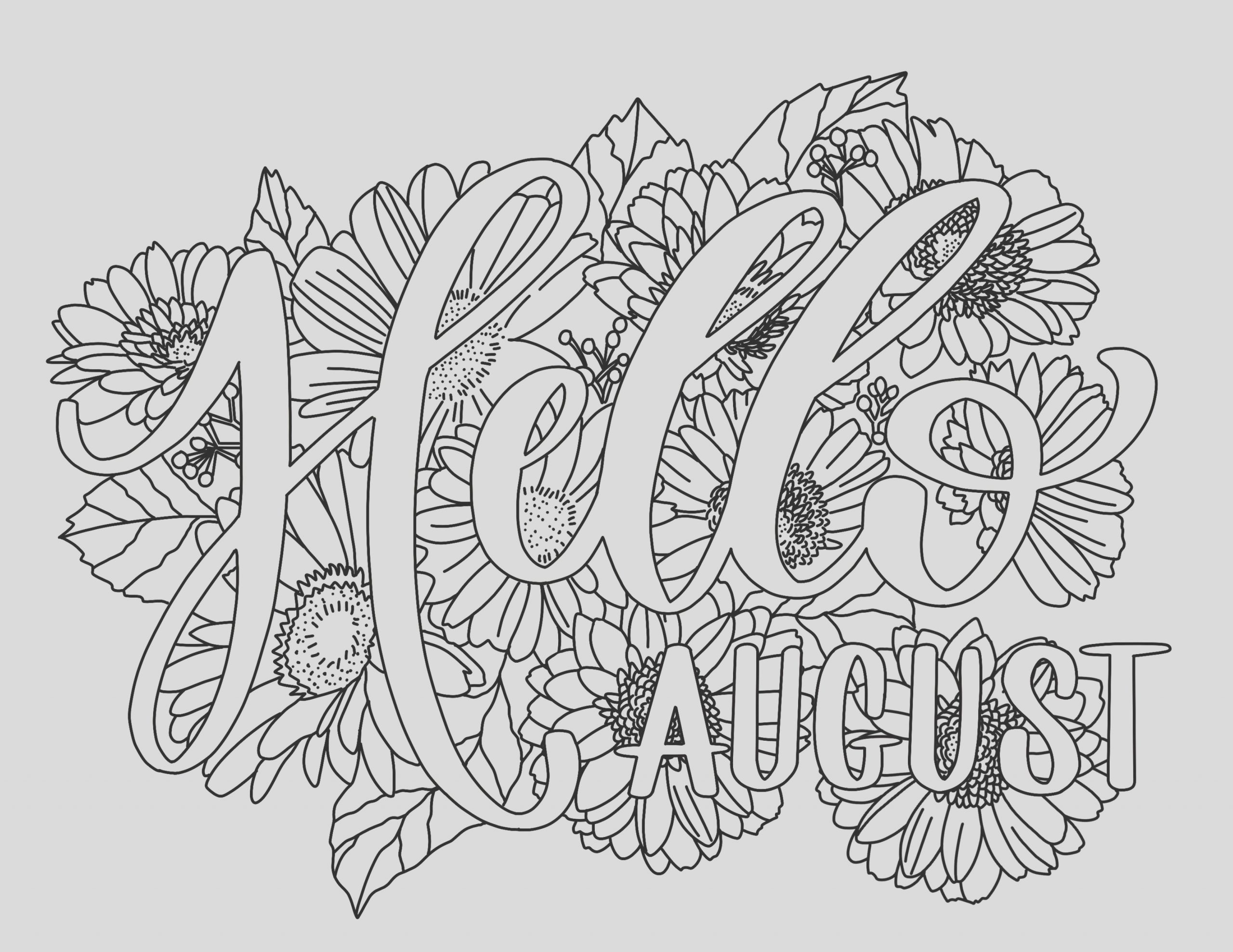 free august coloring page