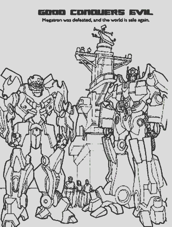 autobots conquers decepticons in transformers coloring page 2