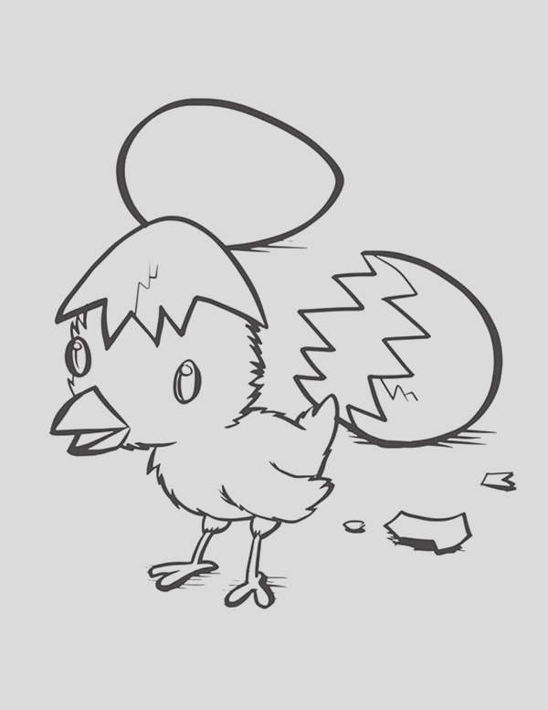 hatching baby chick coloring page