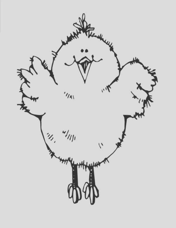 baby chick jumping high coloring page