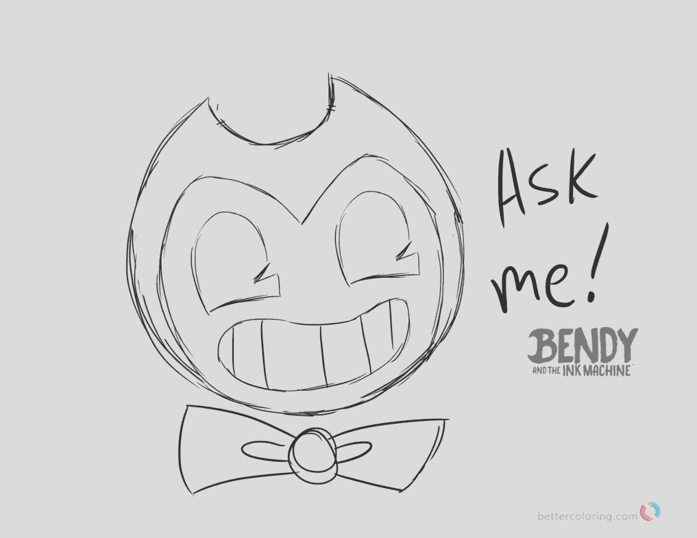 bendy and the ink machine coloring pages ask bendy