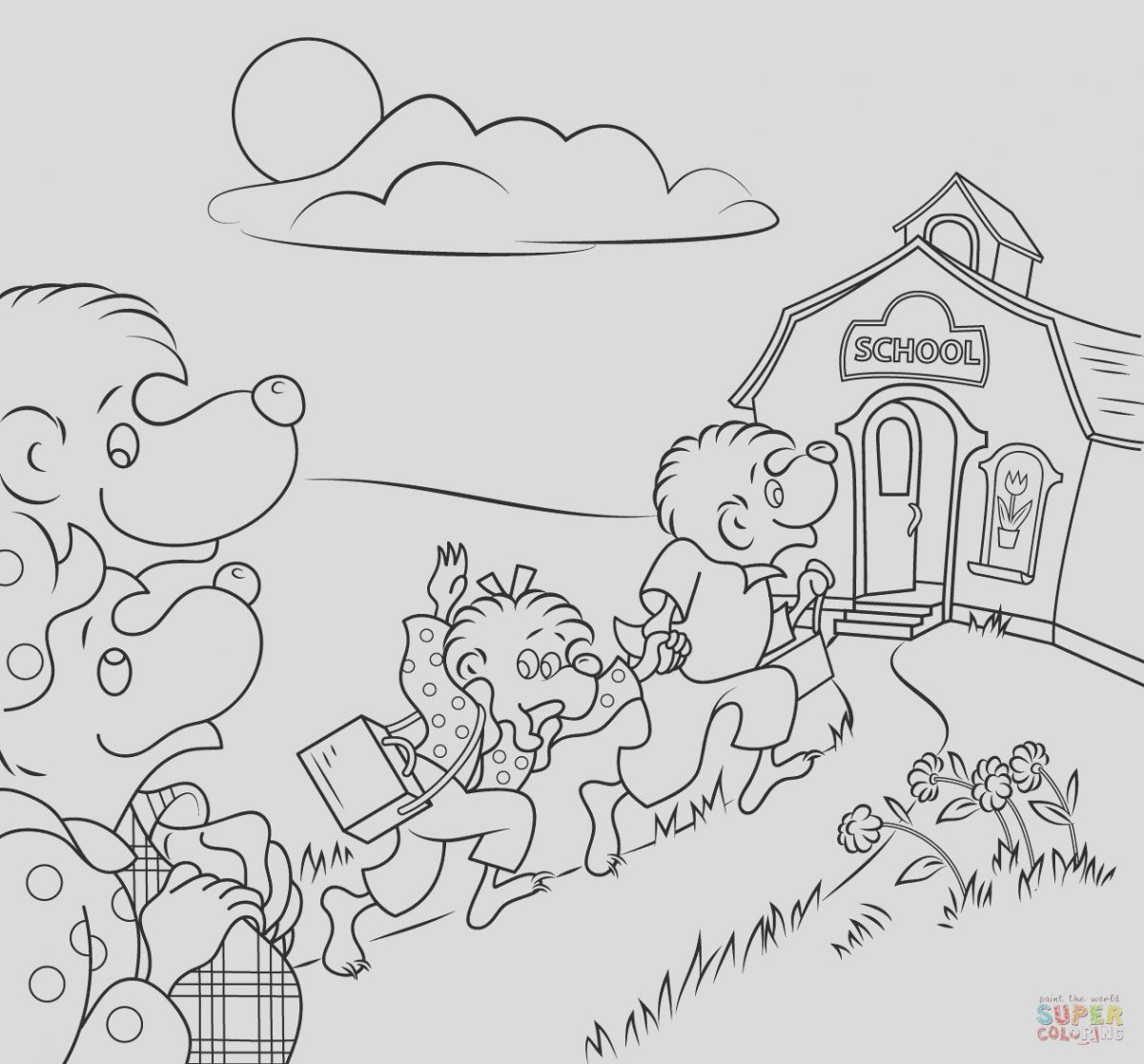 Berenstain Bears Coloring Page Lovely Berenstain Bears Go to School Coloring Page