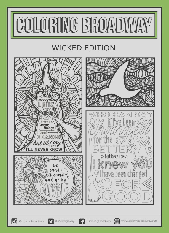 wicked coloring set of 4 broadway