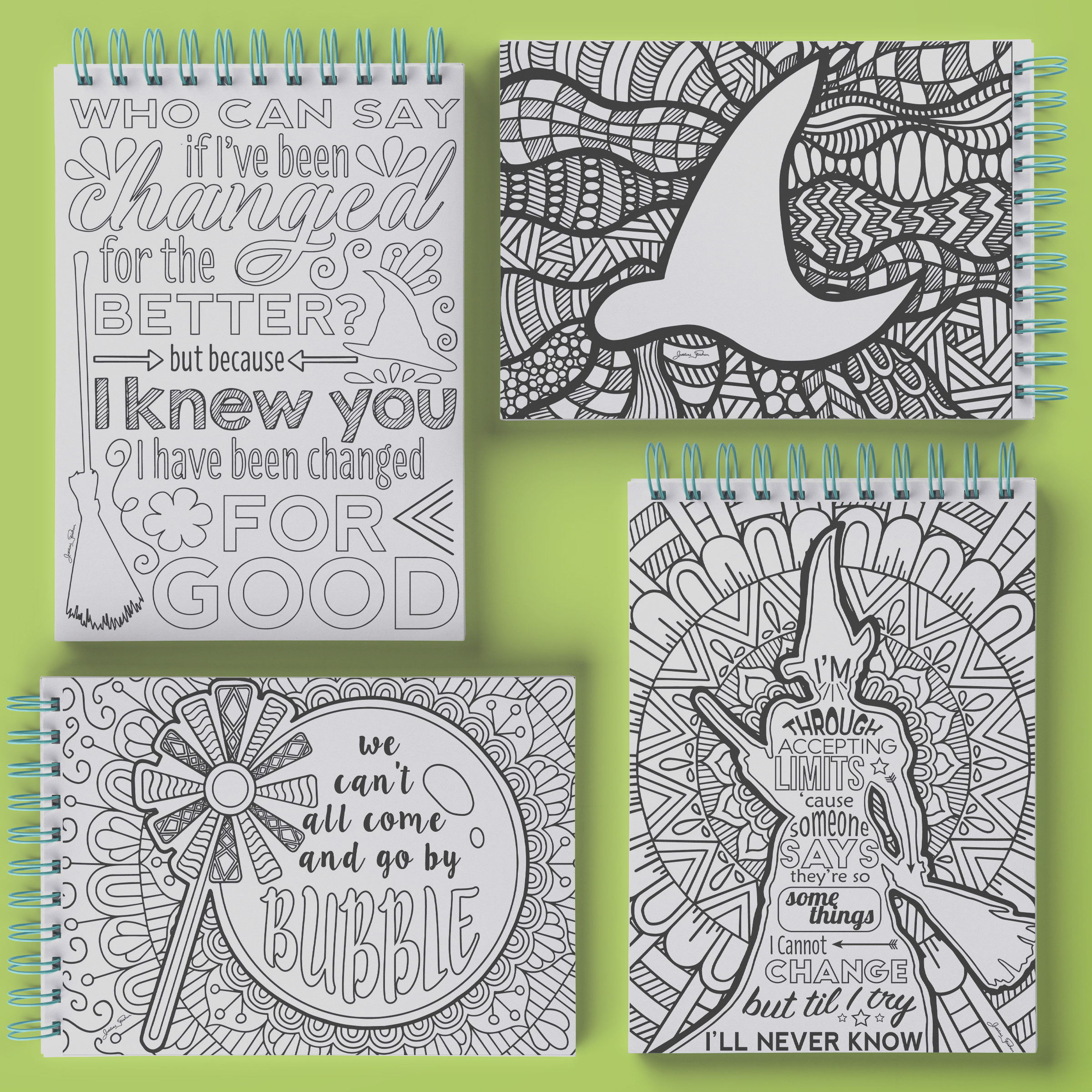 coloring broadway wicked set of 4