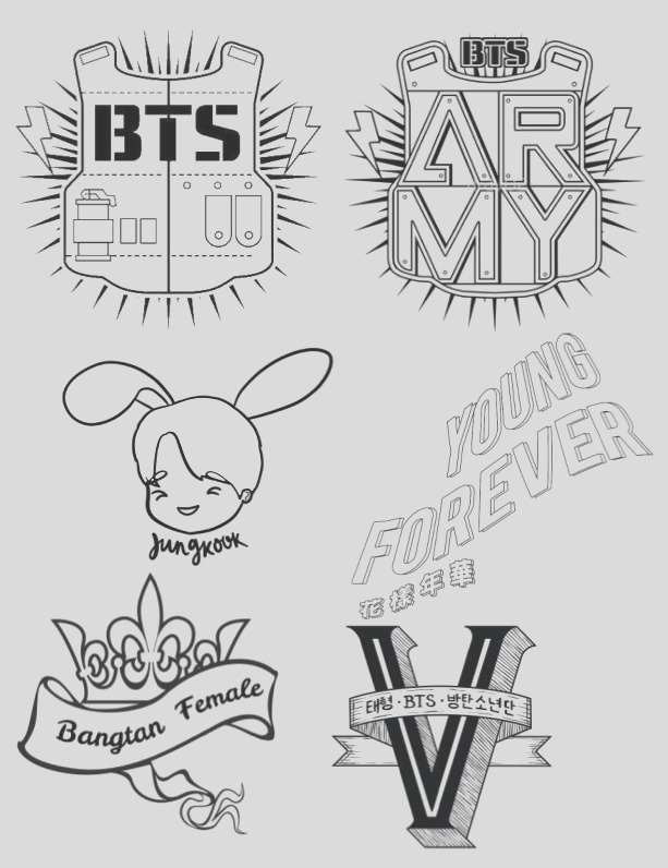 bts coloring pages