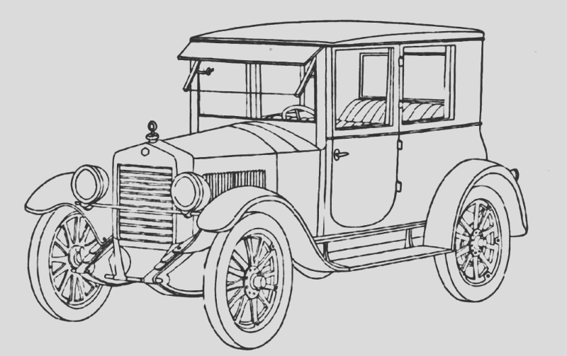 classic car line drawing
