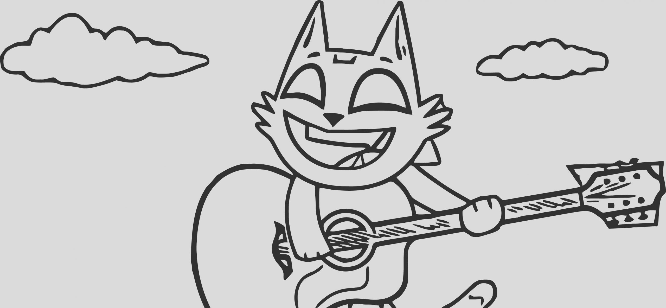 beast boy cat in front of lyric blocks coloring page