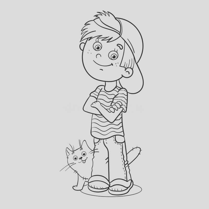 stock illustration coloring page outline boy his cat cartoon image
