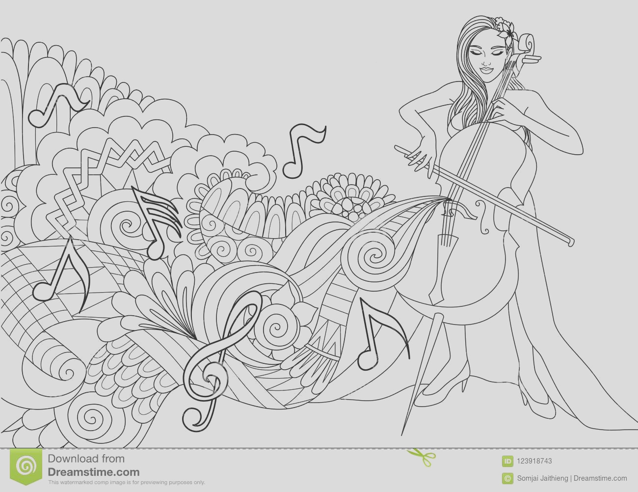 beautiful girl playing cello abstract music wave notes design element coloring book page vector illustration image