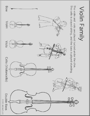 coloring page violin instrument family 9613