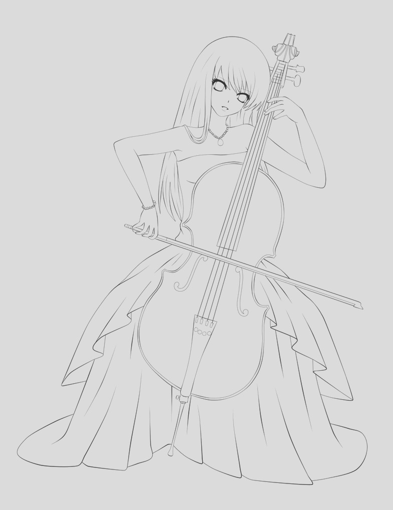 cello drawing outline