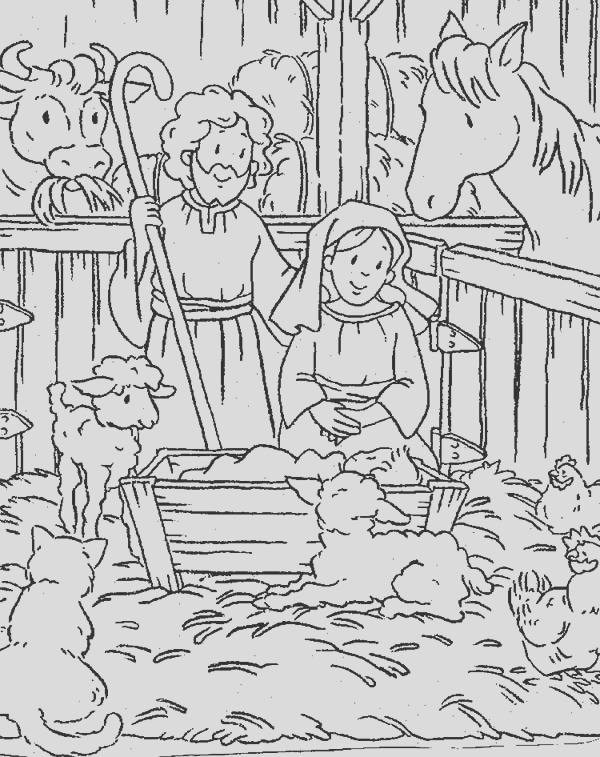 animals gather in stable where jesus was born bible christmas story coloring pages 2