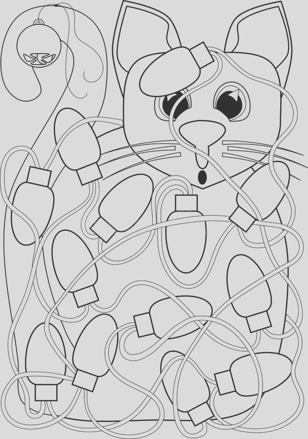cat tangled christmas lights coloring page card design fun