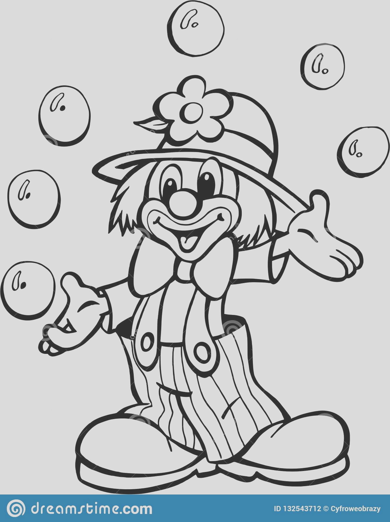 clown circus juggling balls design very good to use coloring pages books screenprinting anything kids image
