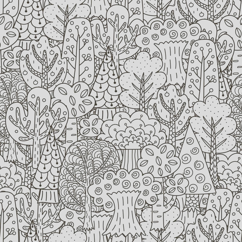 stock illustration fantasy forest seamless pattern black white trees background great coloring book wrapping printing fabric textile image
