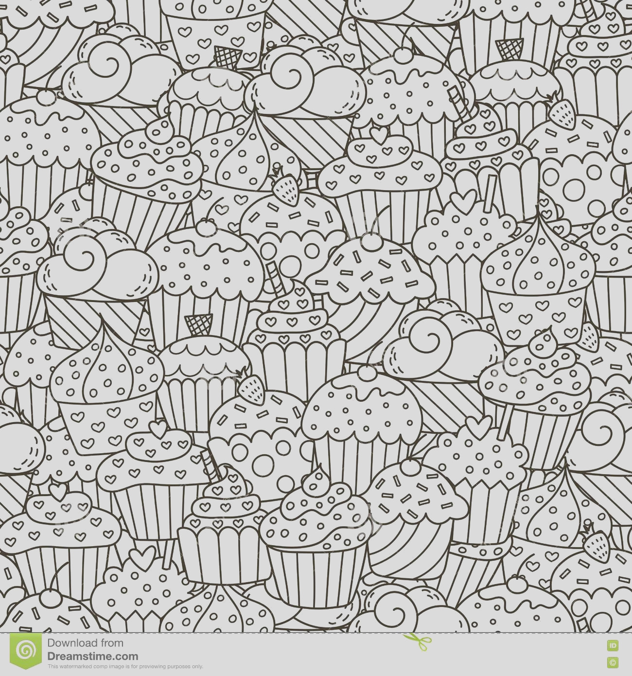 stock illustration black white cupcakes seamless pattern hand drawn muffins background great coloring book wrapping printing fabric image