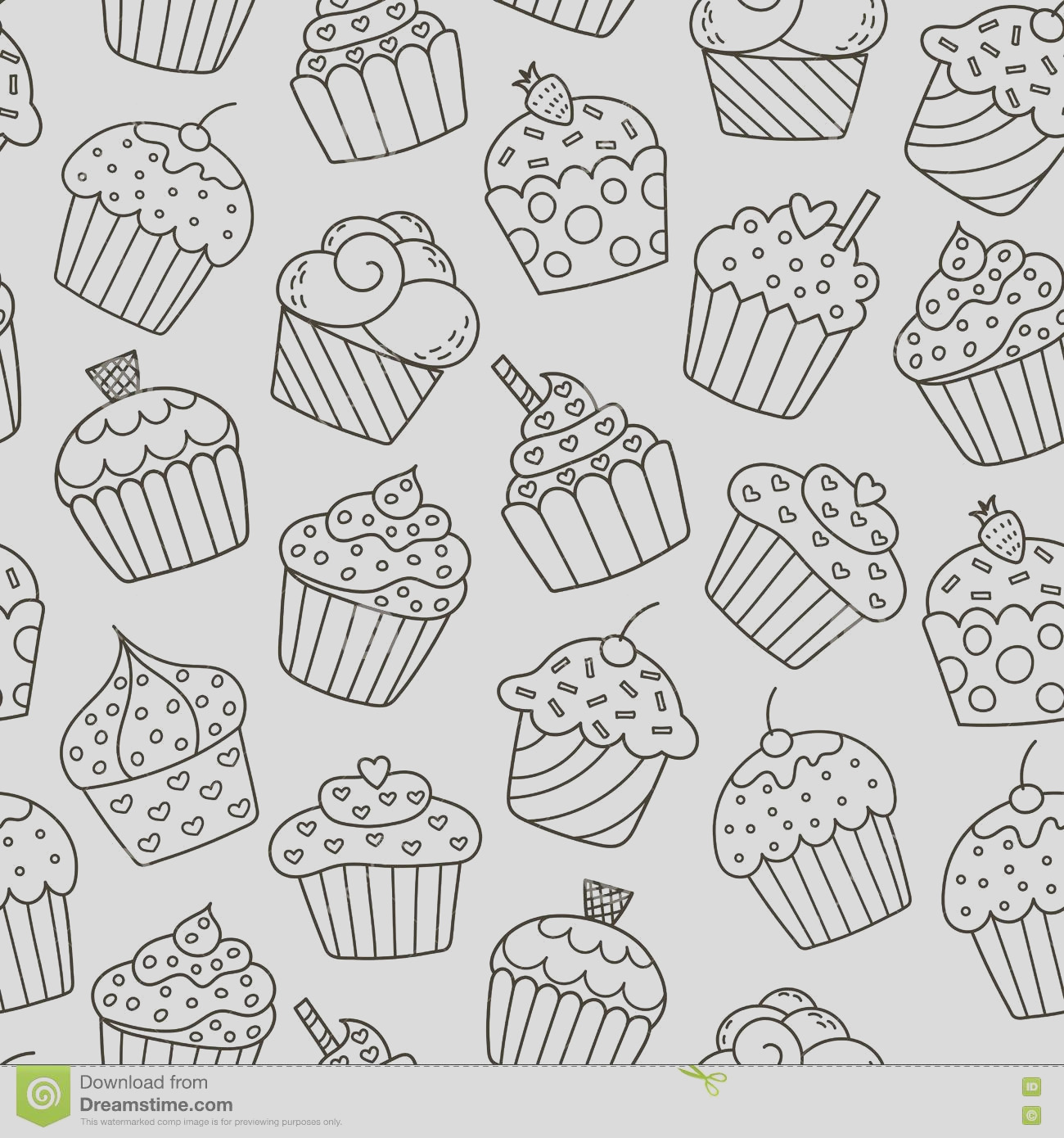 stock illustration monochrome cupcakes seamless pattern black white sweet background great coloring book wrapping printing fabric textile image