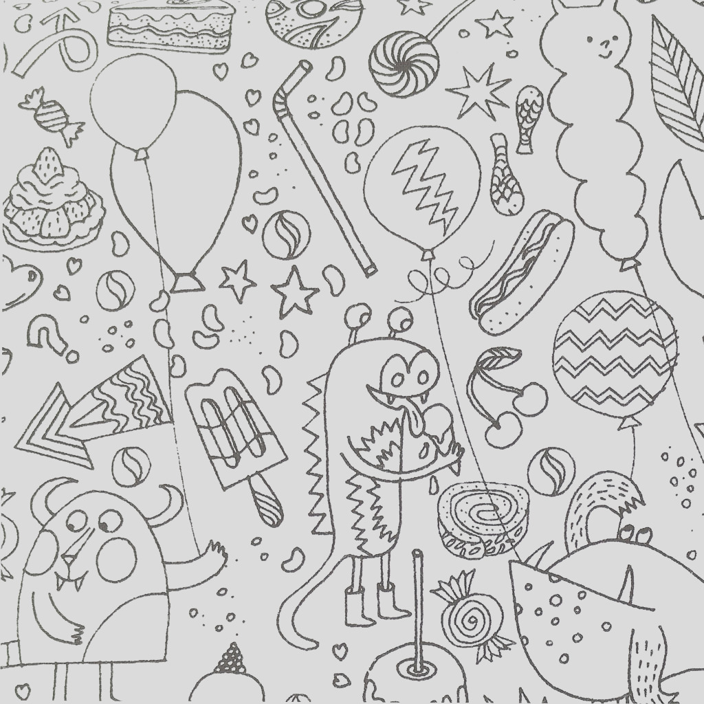Colouring activity Fabric Childish Design Monster and Insects Patterns to color in x10cm p
