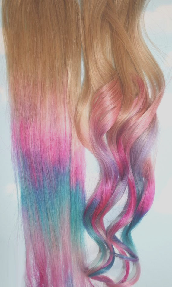 ombre tie dye hair tips set of 2 dirty