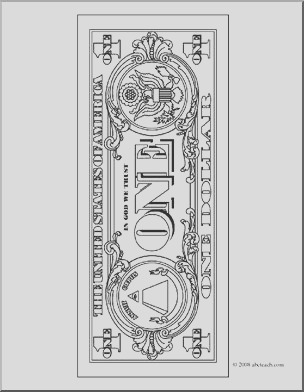 clip art dollar bill outline back coloring page