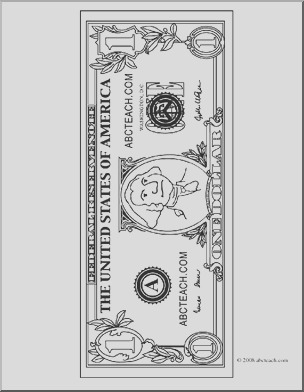 clip art dollar bill outline front coloring page
