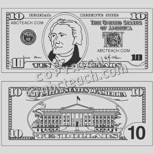 100 dollar bill coloring pages