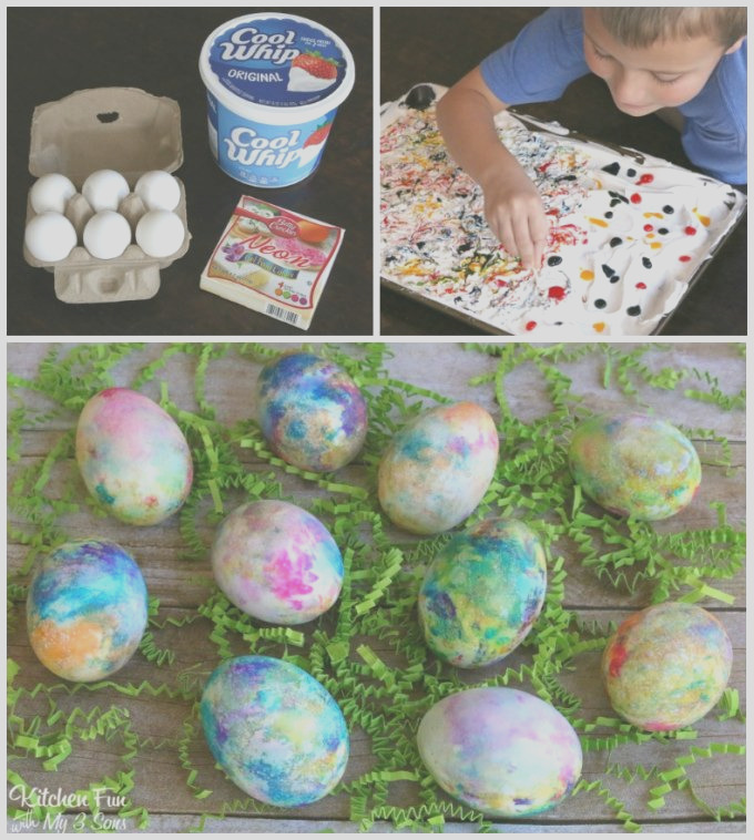 whipped cream dyed eggs easter