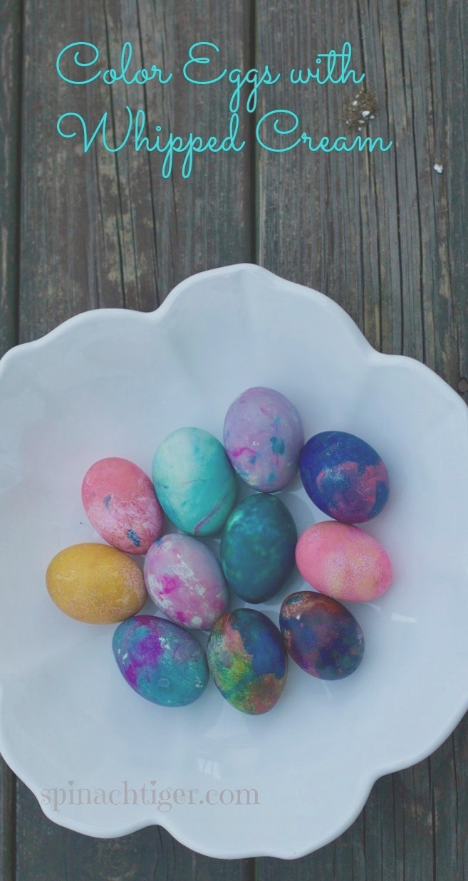 how to color eggs for easter with whipped cream or shaving cream